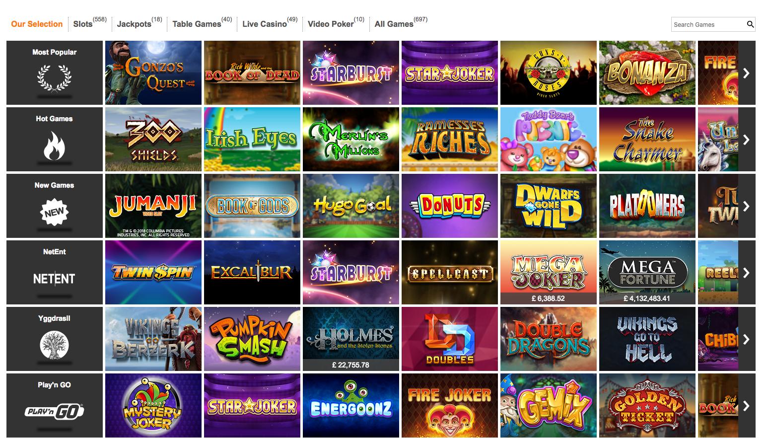 Expekt Casino Games Selection