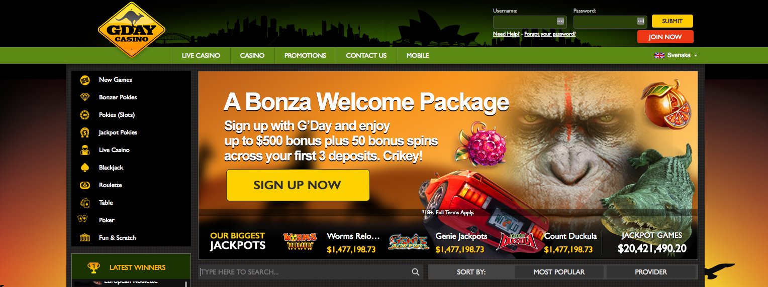 An image of impressive welcoming offers at GdayCasino