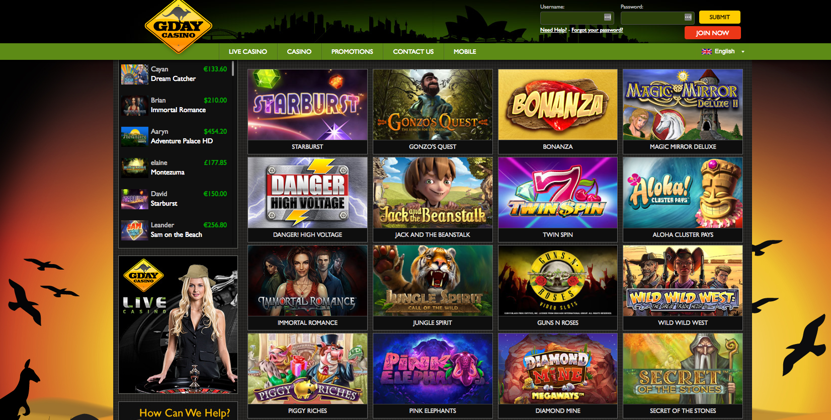 A screenshot of some of the popular games at GdayCasino