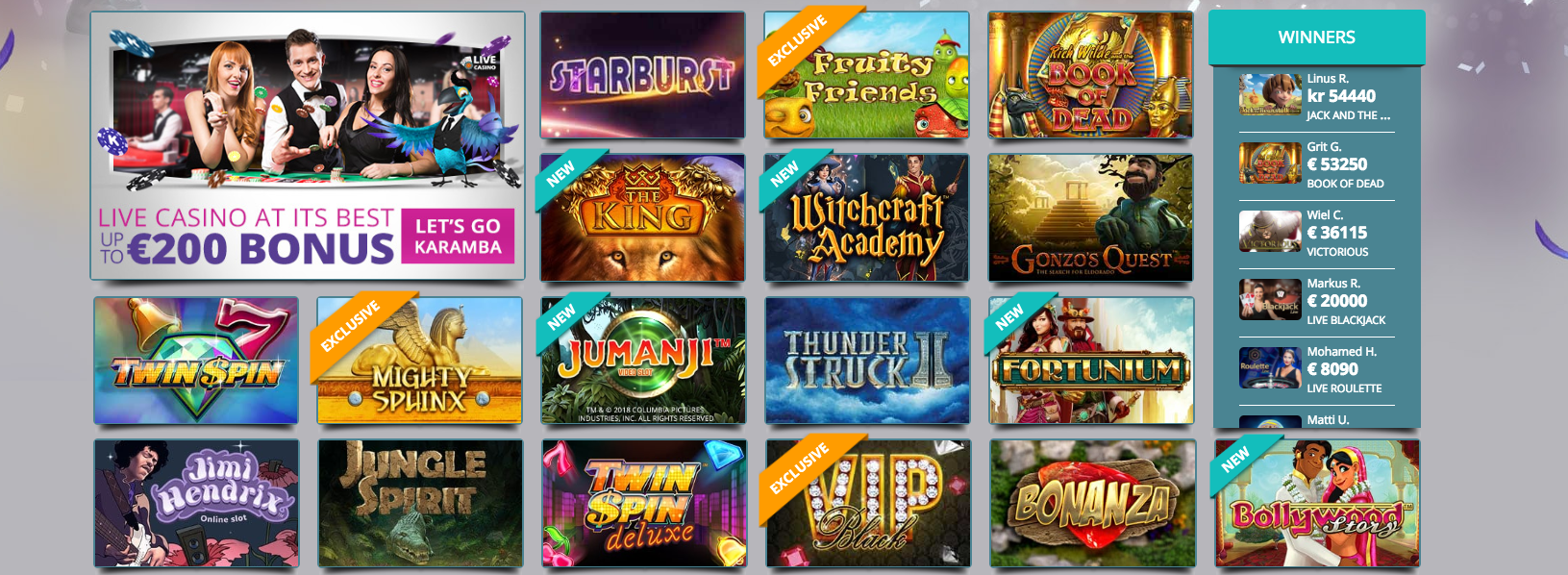 Some of the popular games at Karamba Casino