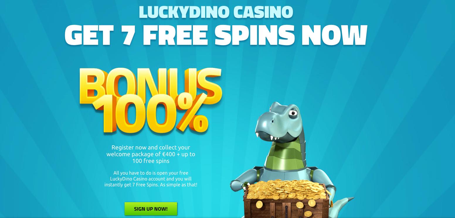 A screenshot of Luckydino casino welcoming offers