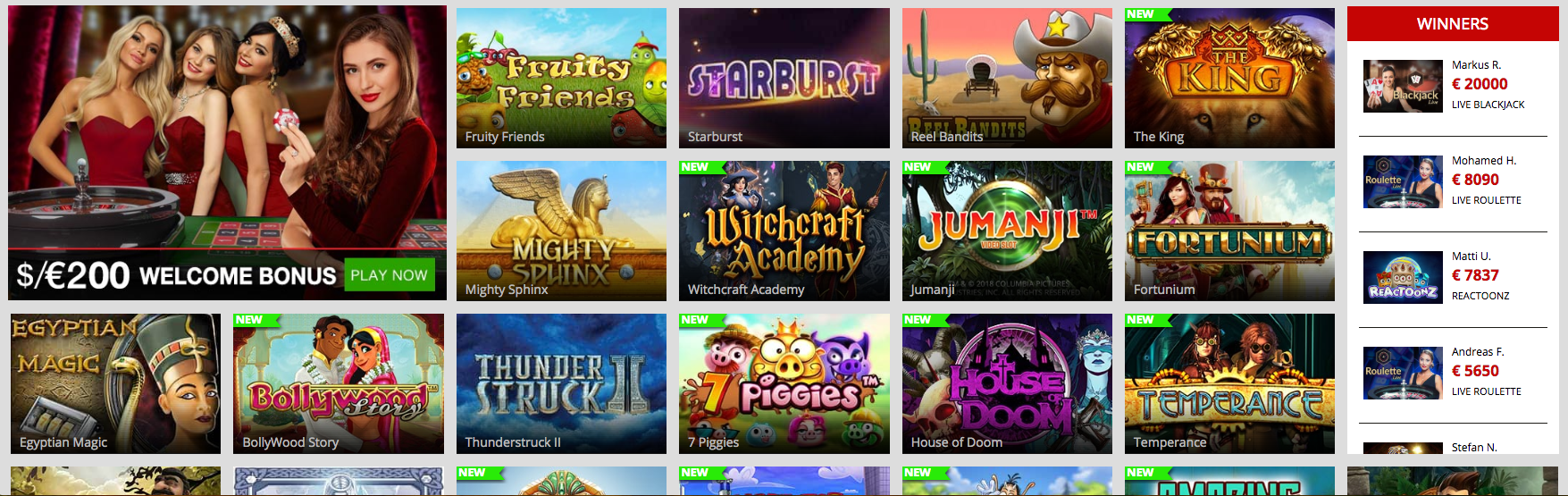 Some of the most popular games at Magic Red Casino