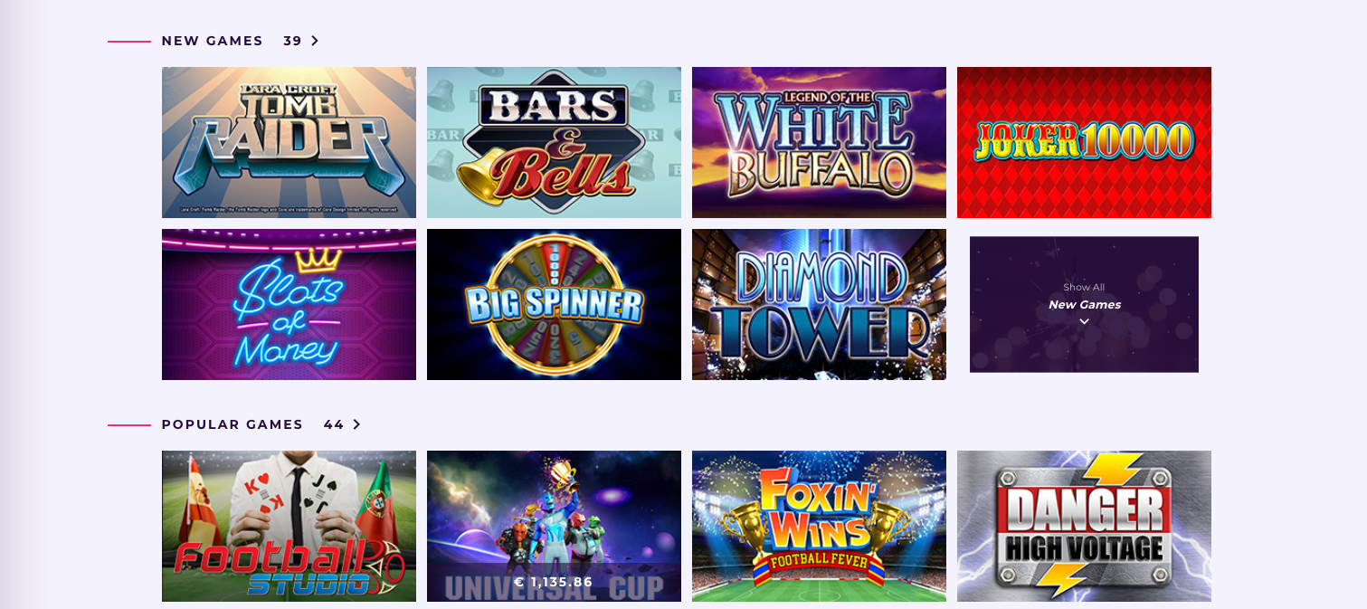 Some of the popular games at Slot Planet Casino