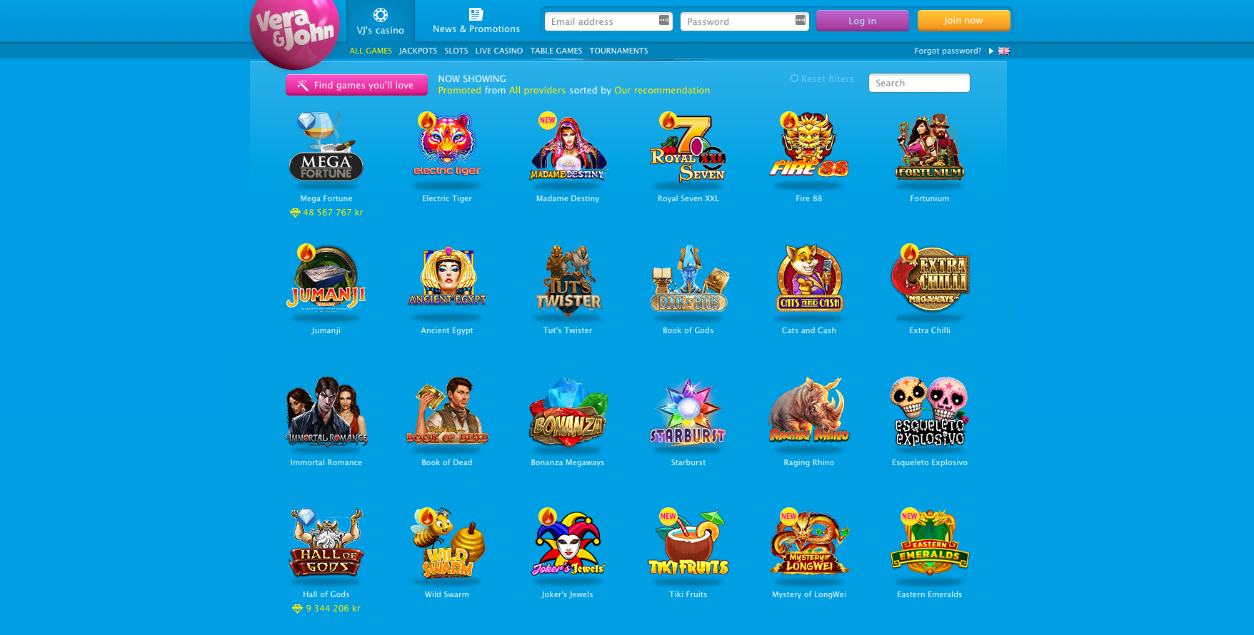 An image of popular games at Vera & John Casino