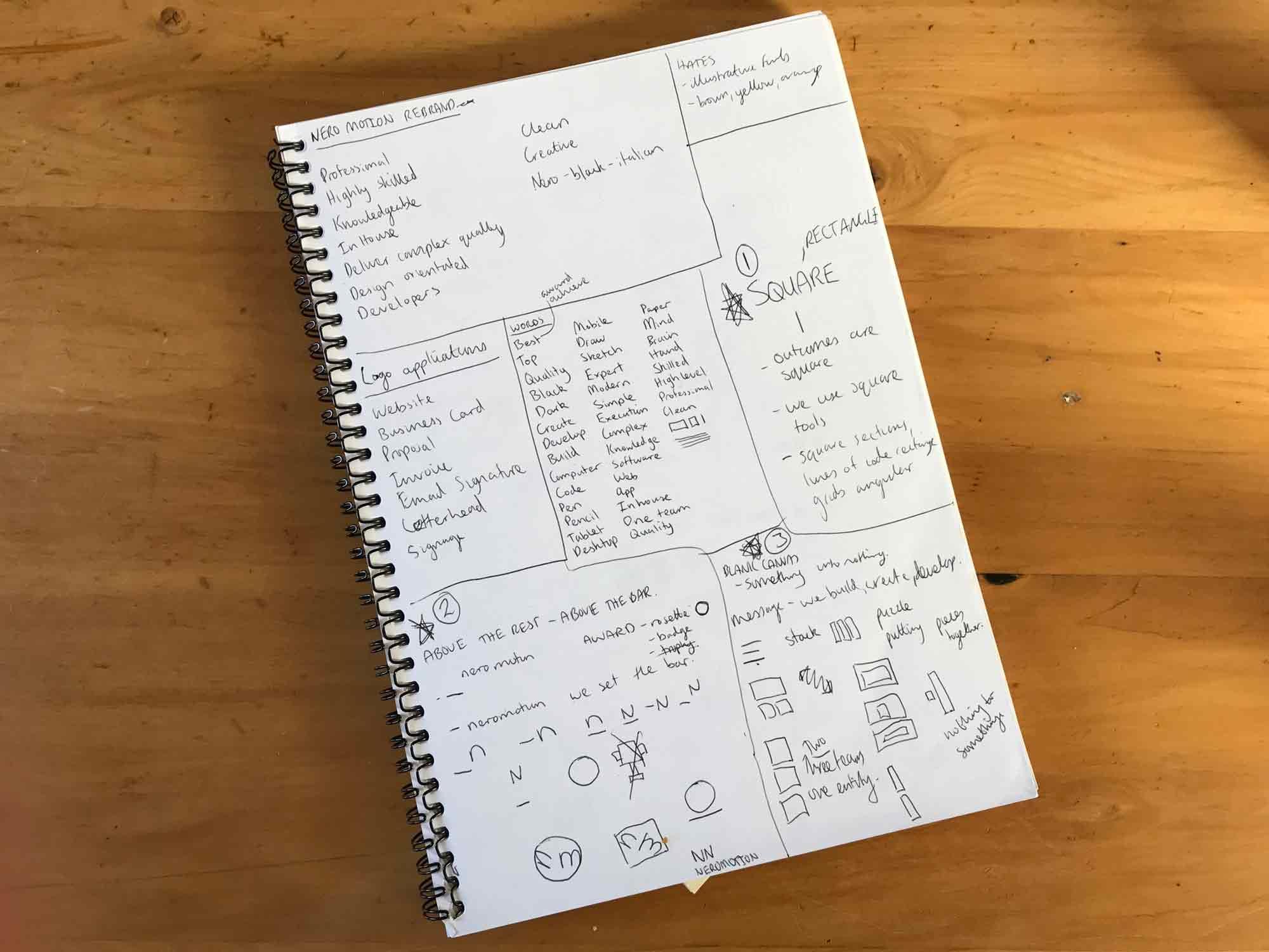 Nero Motion - identity brainstorming