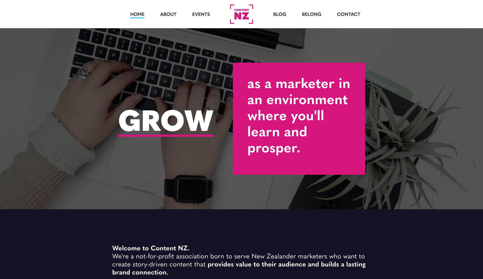 Content NZ - homepage design