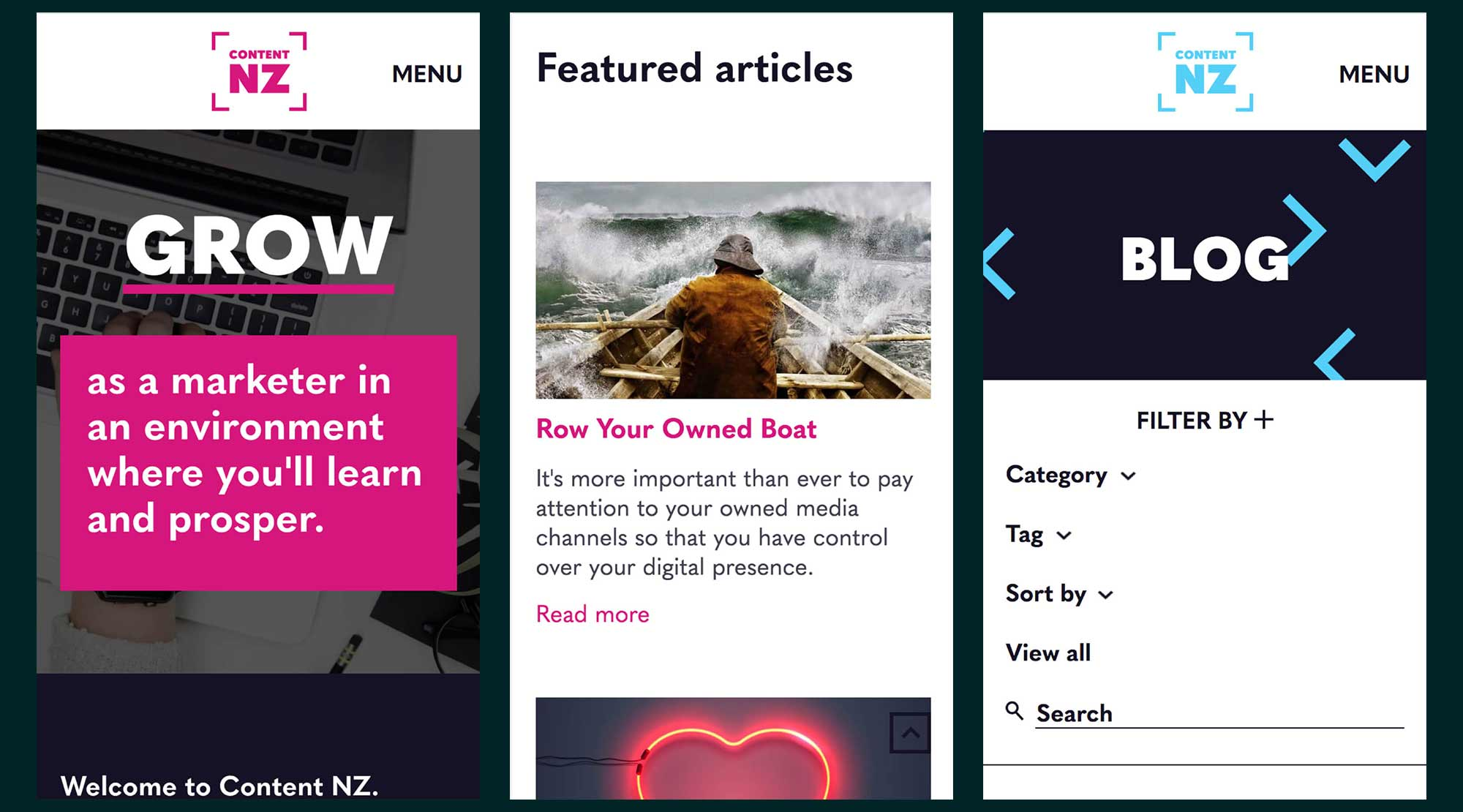 Content NZ - mobile designs