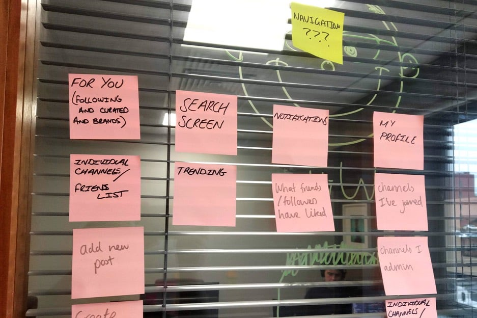 Post it note wall with ideas from a UX workshop
