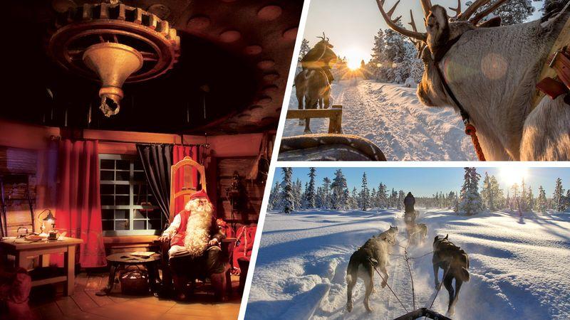 Santa Claus & Reindeer & Husky