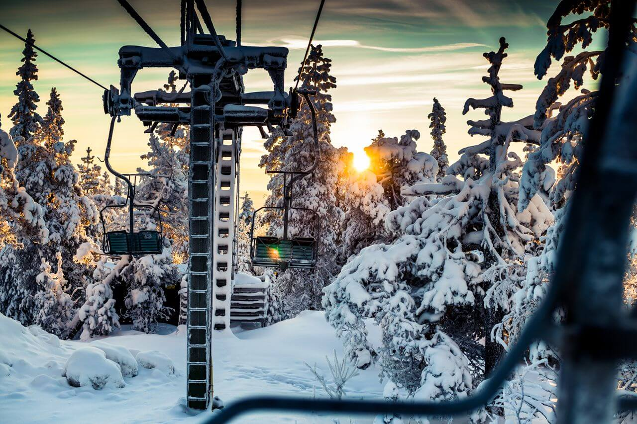 gorgeous sunset on the top of Ounasvaara hill next to the ski lift