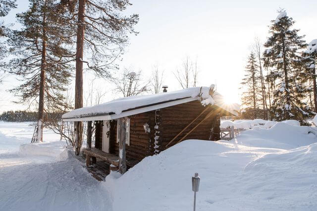 Wooden sauna in the middle of nowhere