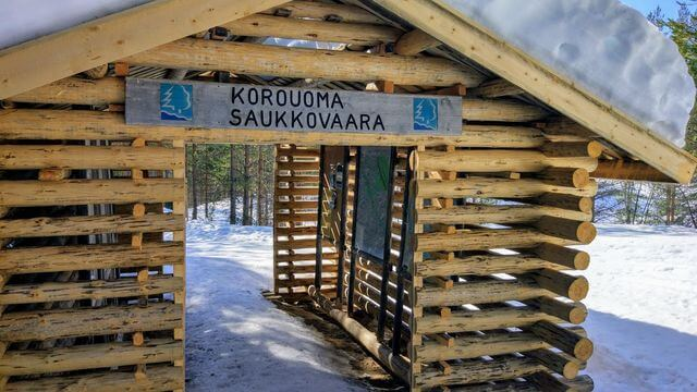 Entrance to Korouoma national park in winter
