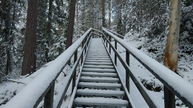 Snowbound staircase