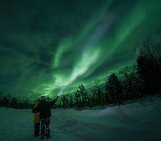 In the polar latitudes, auroras can appear on any dark night.