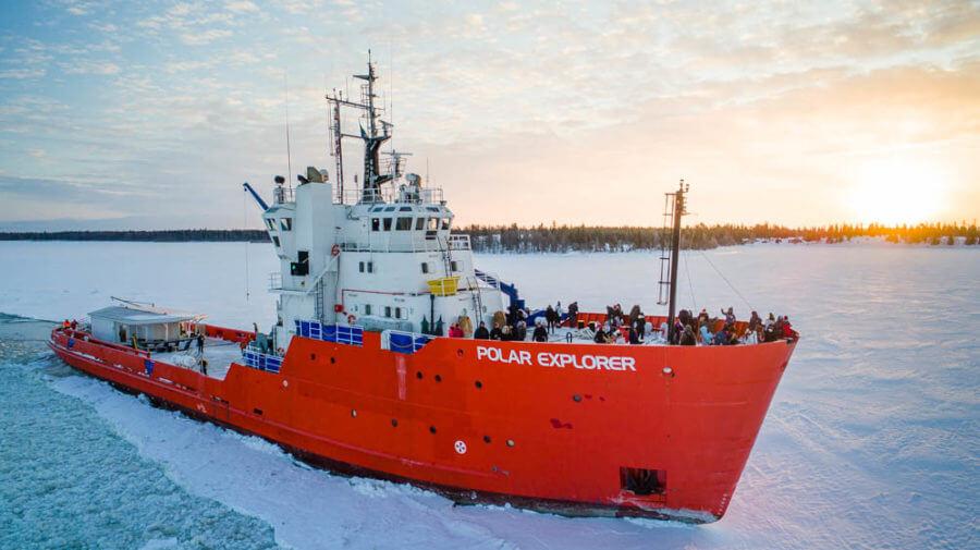 Polar Explorer tourist Icebreaker offers 3 hours cruise in the frozen water of Bothnian sea in Lapland.