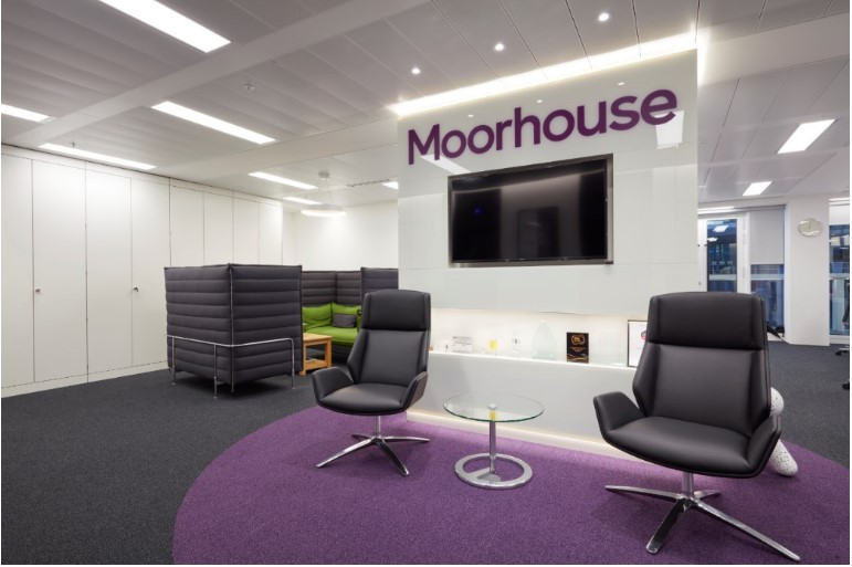 Brand identity carried through to a reception area