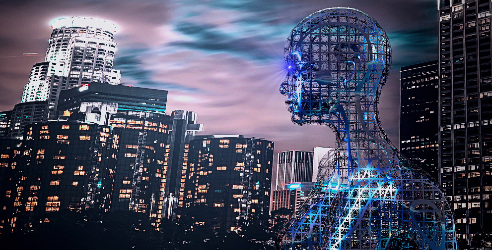 Cyberpunk image of cyborg looking at dystopian night city