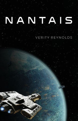 Spaceship over blue planet in space cover of science fiction book Nantais