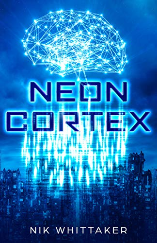 Neon Cortex Cover, a digital brain on blue background