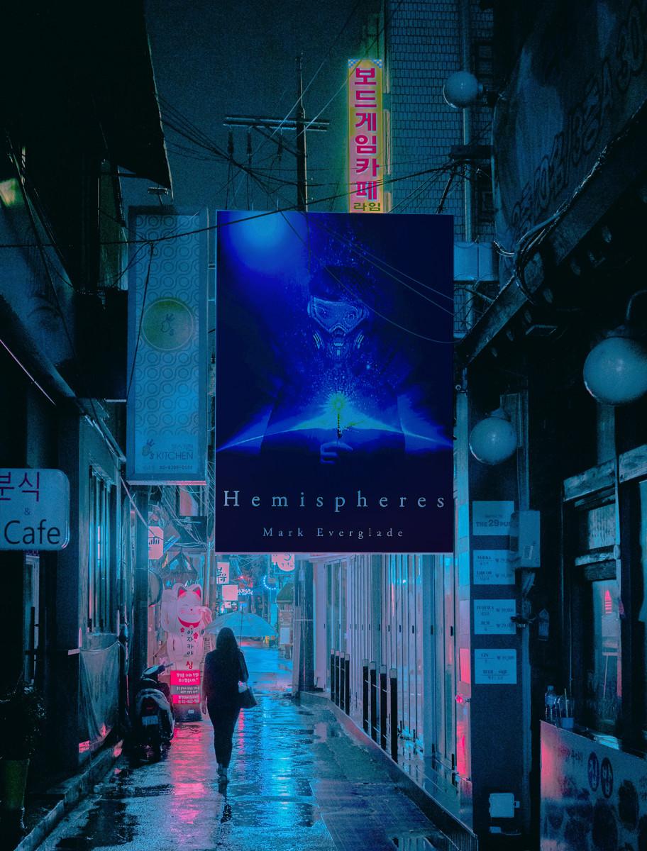 cyberpunk book hemispheres cover in a night city