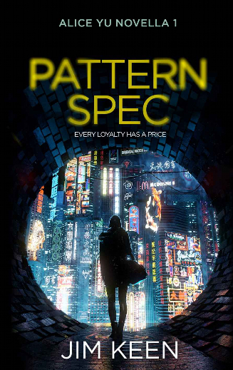 Cyberpunk book Pattern Spec book cover showing  neon city and woman in front -