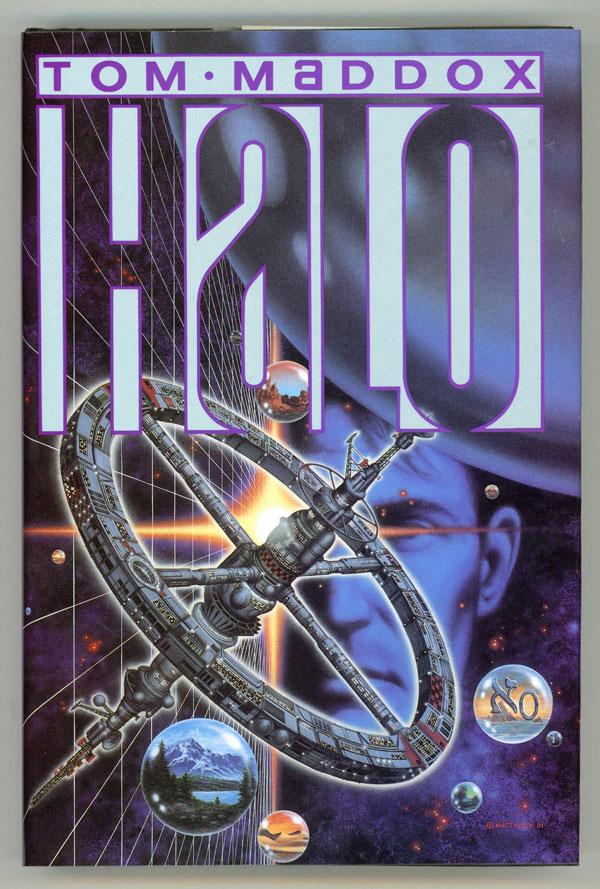 Tom Maddox's cyberpunk book halo showing spacestation world