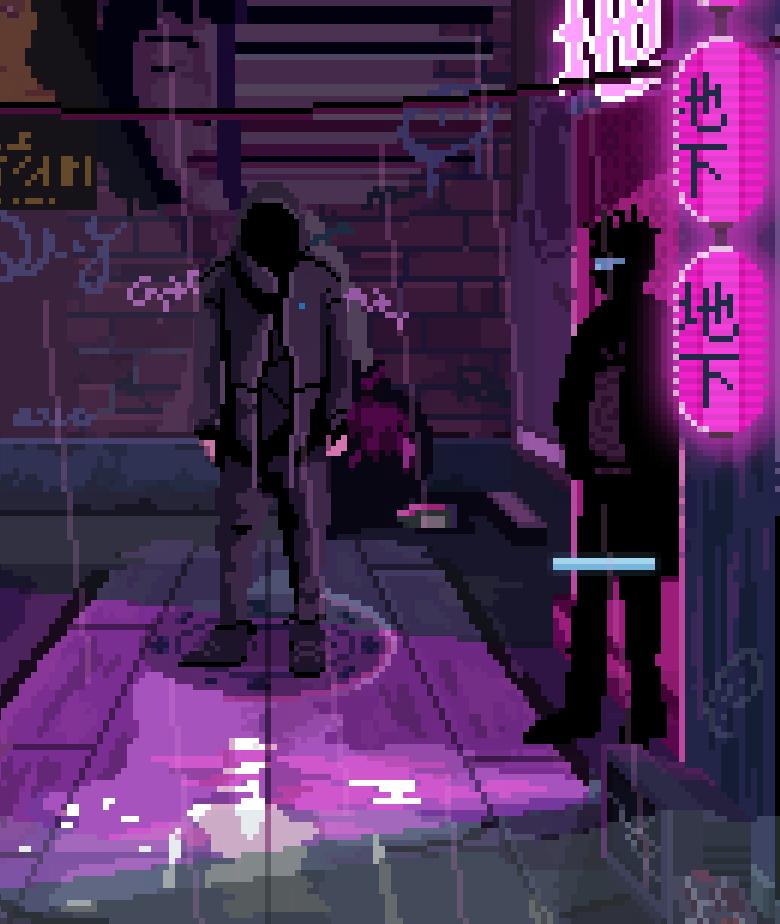 cyberpunk hero standing near bouncer