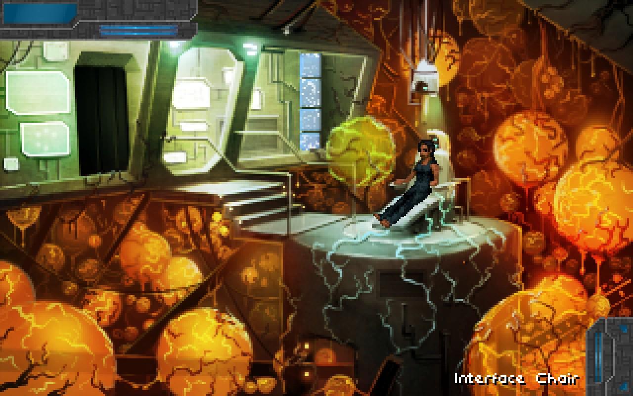 technobabylon cyberpunk game screenshot girl in a chair research lab brains around her