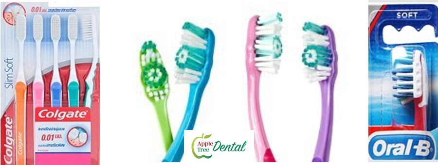 Pictures of toothbrushes with different features.