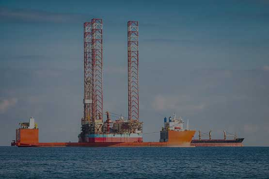 oil rig out at sea