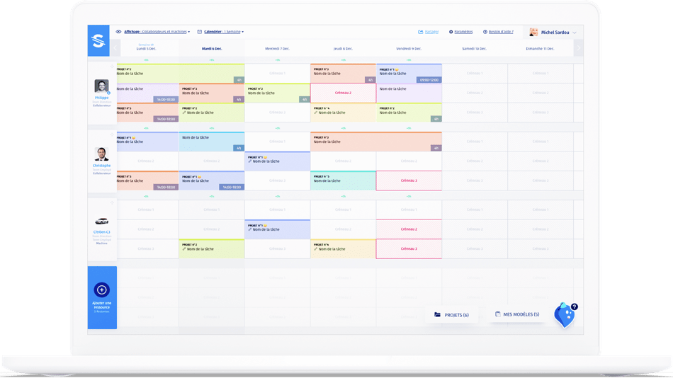 interface du logiciel de planning Stopilo