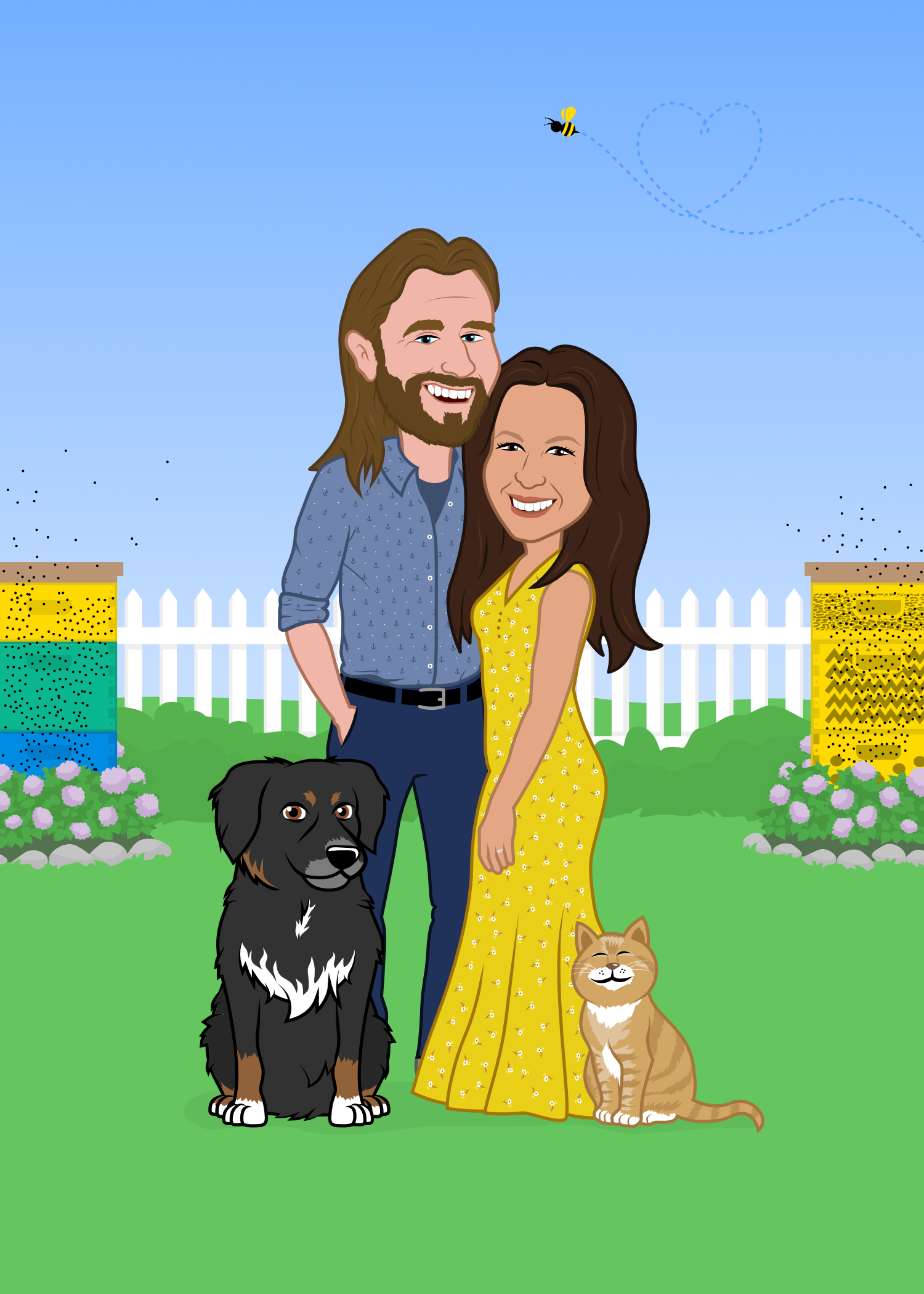 Wedding Invitation Character Design Couple Caricature