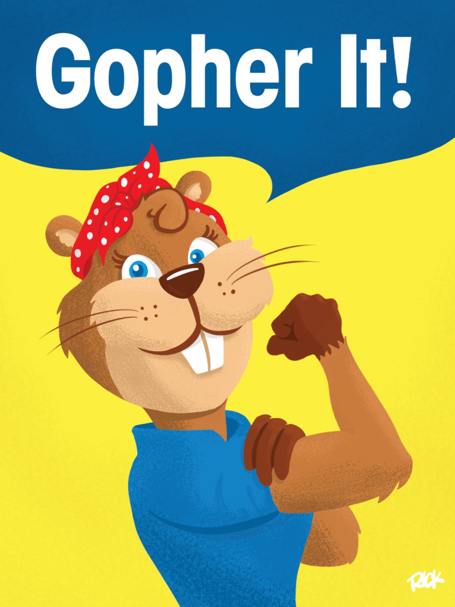 Gopher It! Rosie the Riveter Cartoon Poster