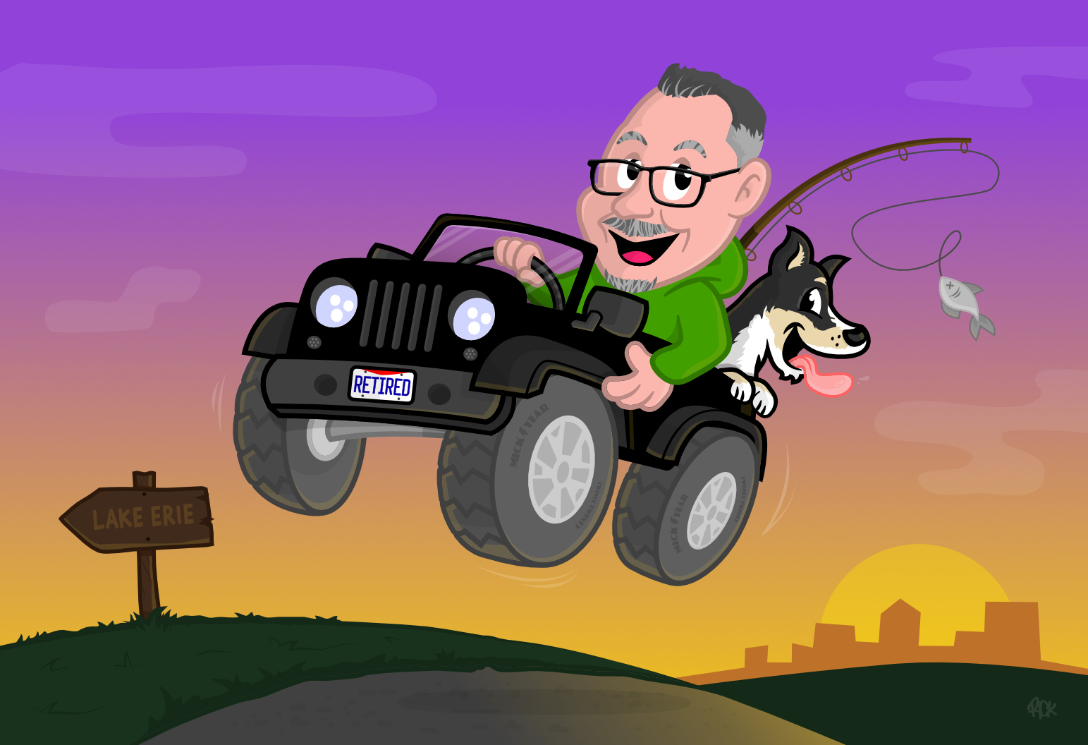 Custom Retirement Cartoon, driving off into sunset in jeep with dog to go fishing