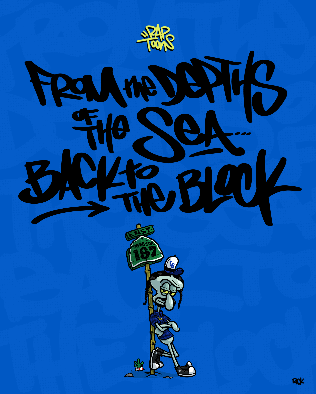 Snoop Dogg as Squidward from Spongebob Squarepants, hip-hop lyrics illustration series called RapToons