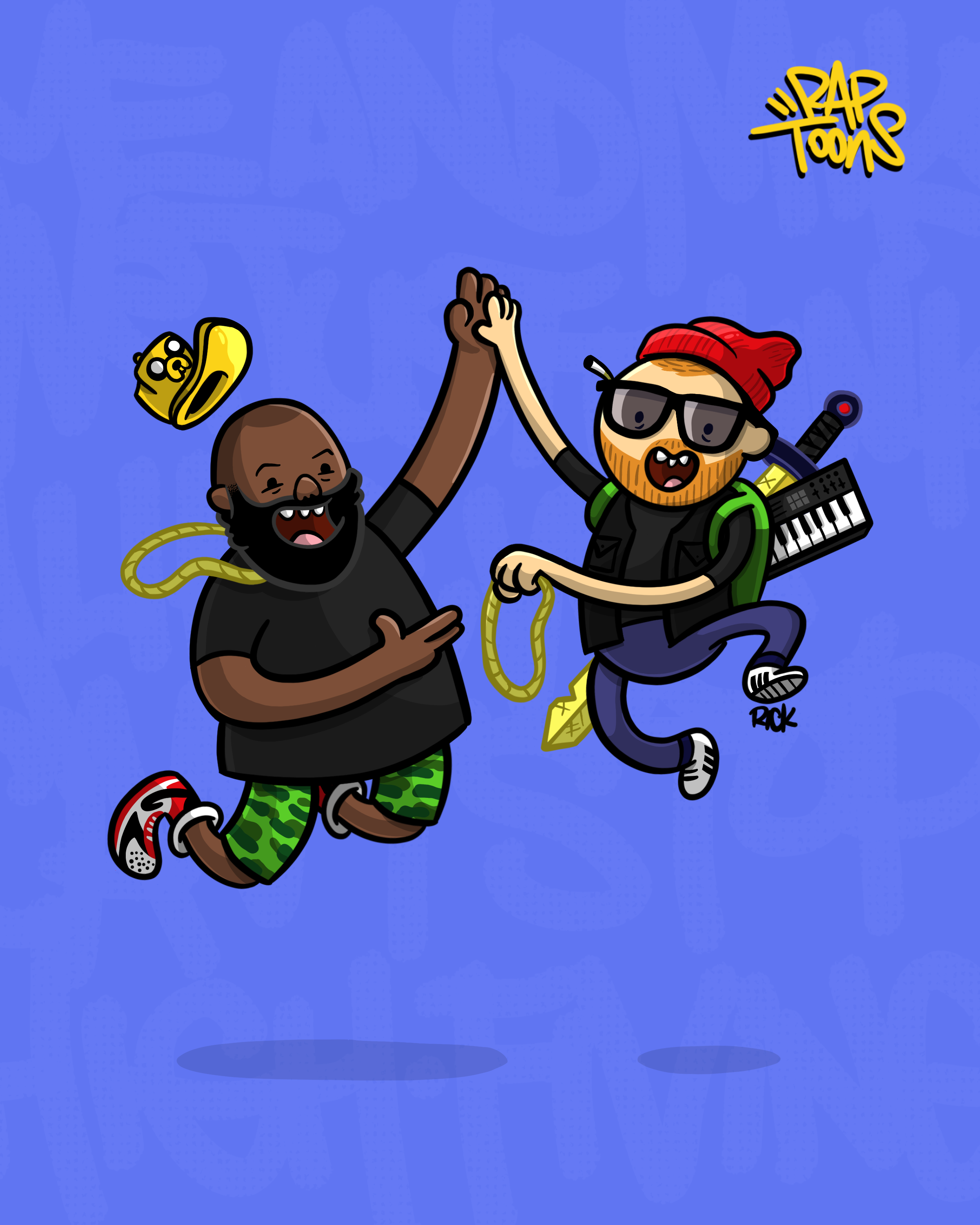 Run The Jewels fan art with Killer Mike and El-P doing the ultimate high-five from Adventure Time, part of the hip-hop lyrics cartoon illustration series called RapToons