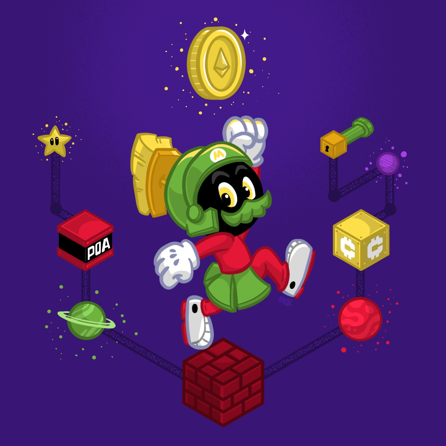 marvin the martian mashup with super mario as he explores a crypto themes mushroom kingdom blockchain collecting ethereum coins