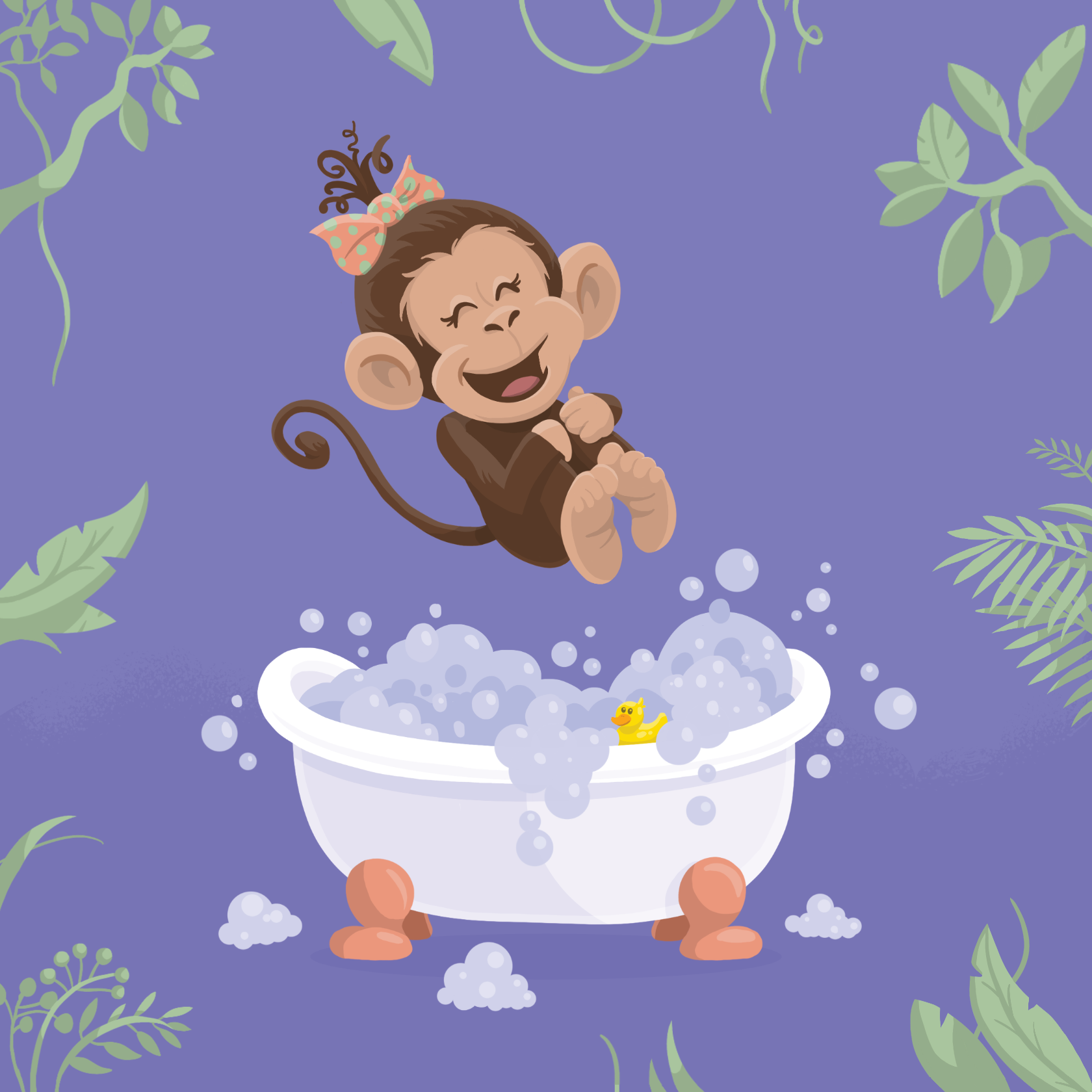 Baby shower invitation artwork baby girl monkey splashing into a bathtub in the jungle