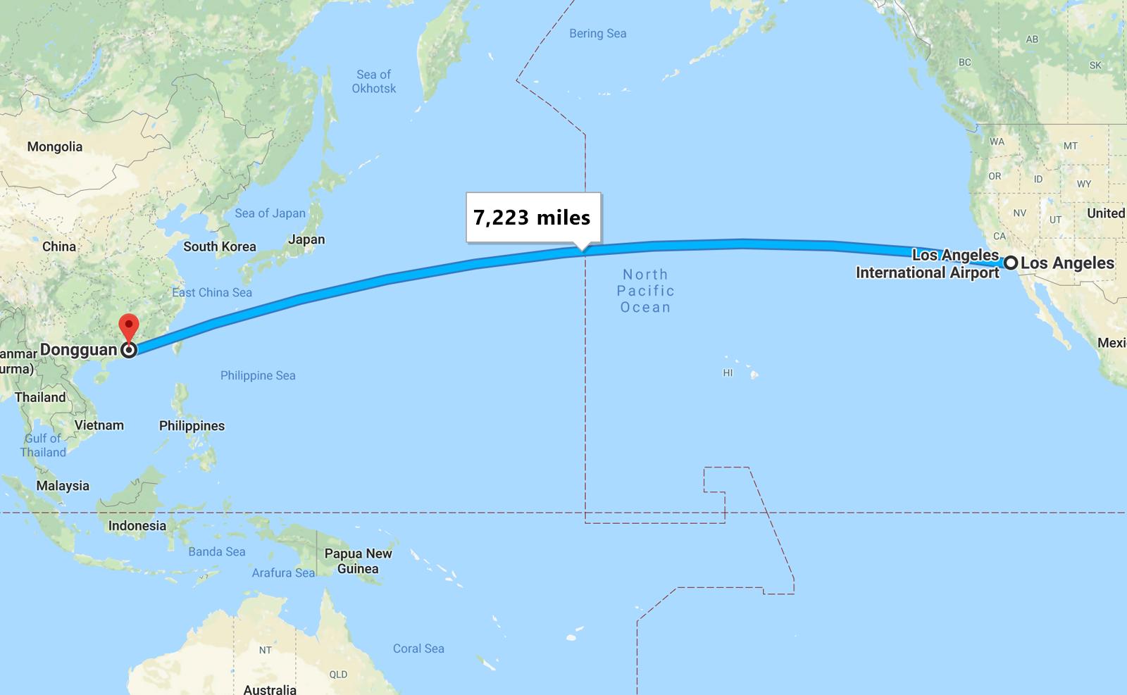 map Los Angeles to Dongguan China