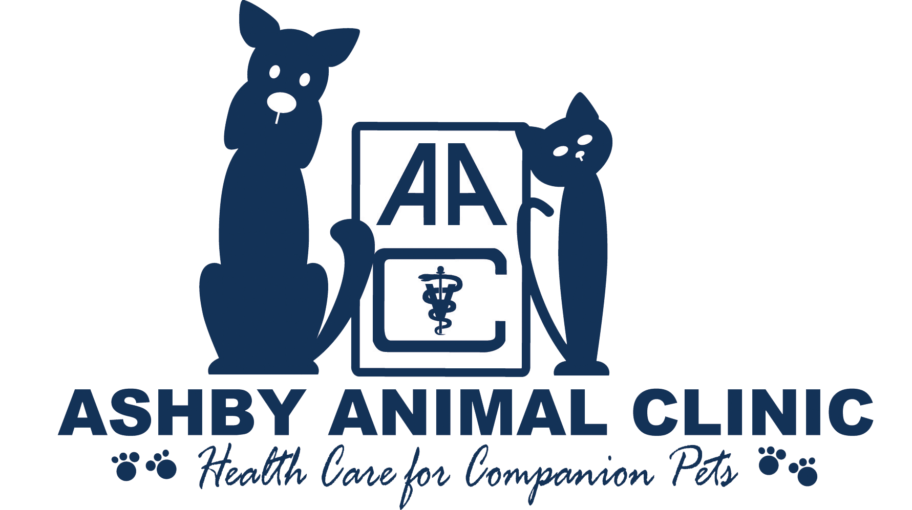 the aashby animal clinic logo in navy blue with a large outline cat to the left and a small outlined cat to the right