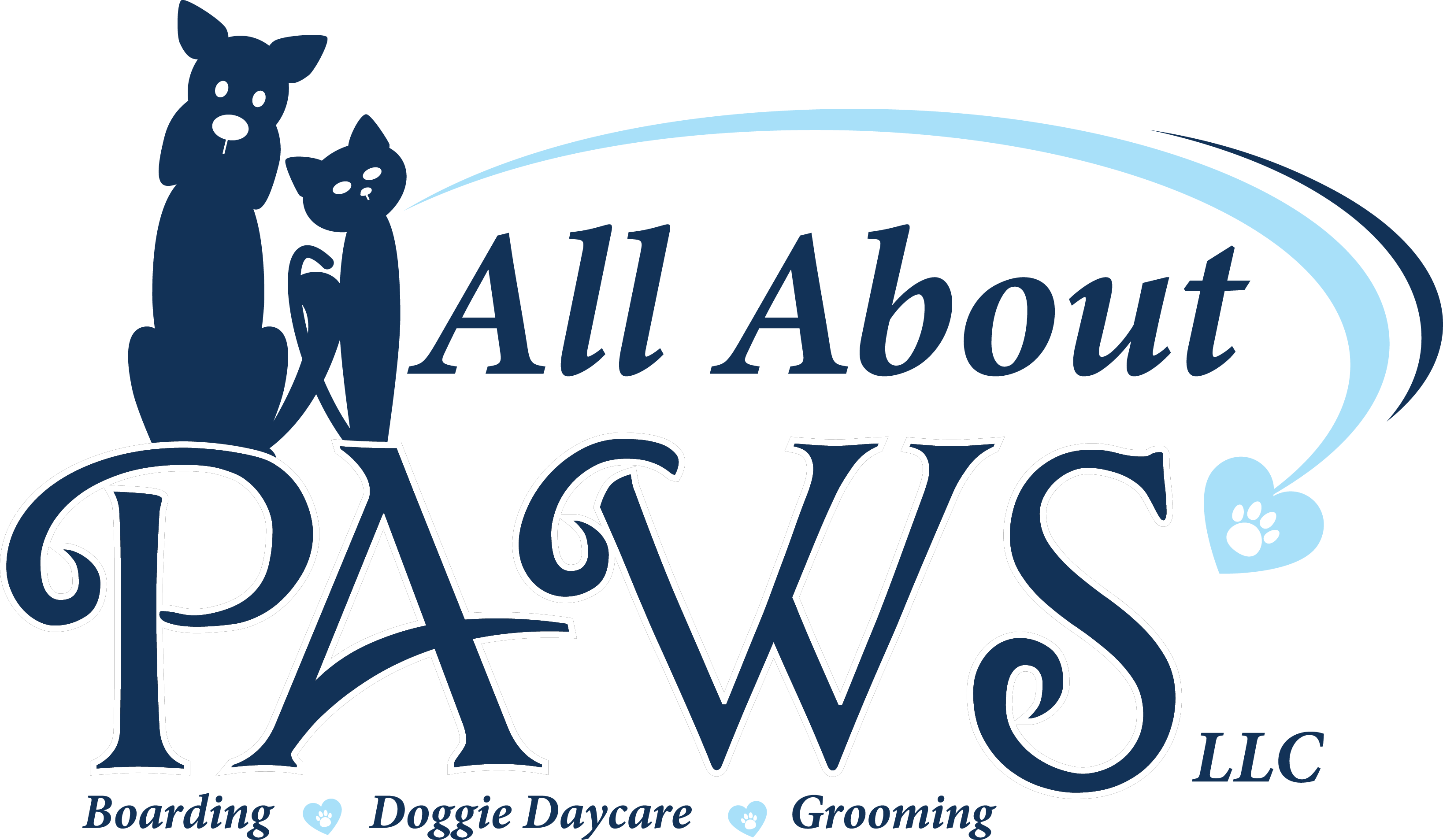 the all about paws logo in navy blue with a light blue paw heart flying in from the right.