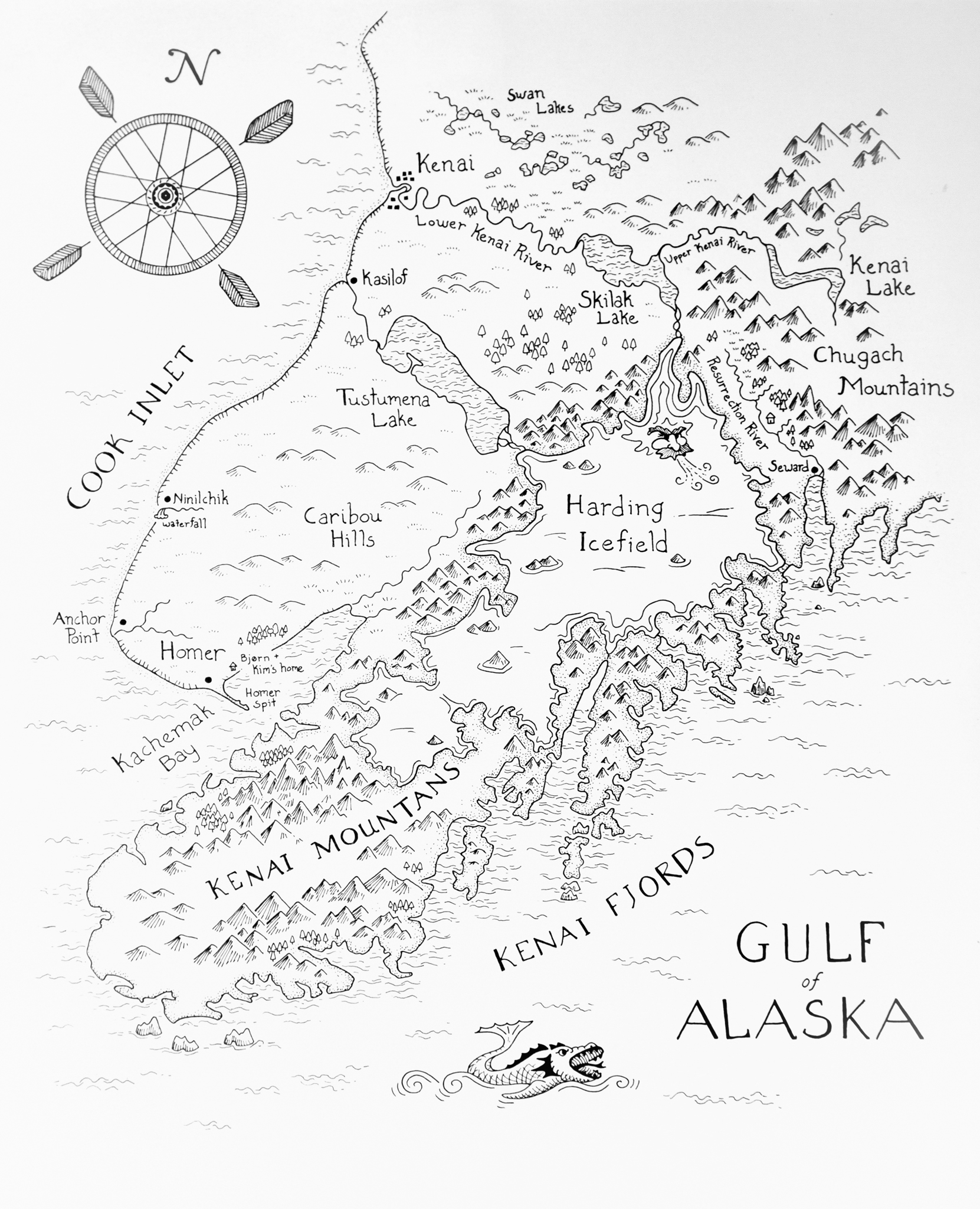 Kenai Peninsula Map drawing