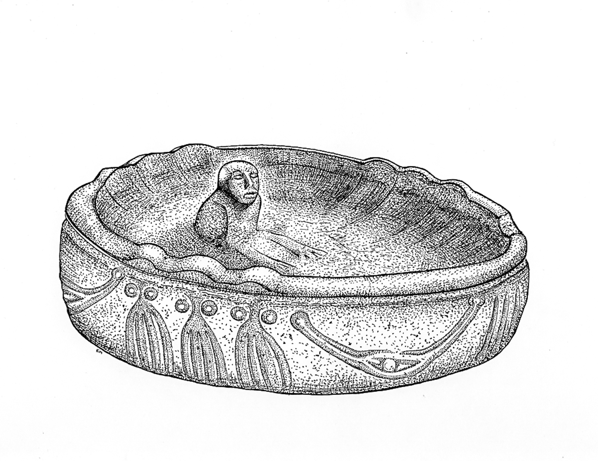 Stone Oil Lamp drawing