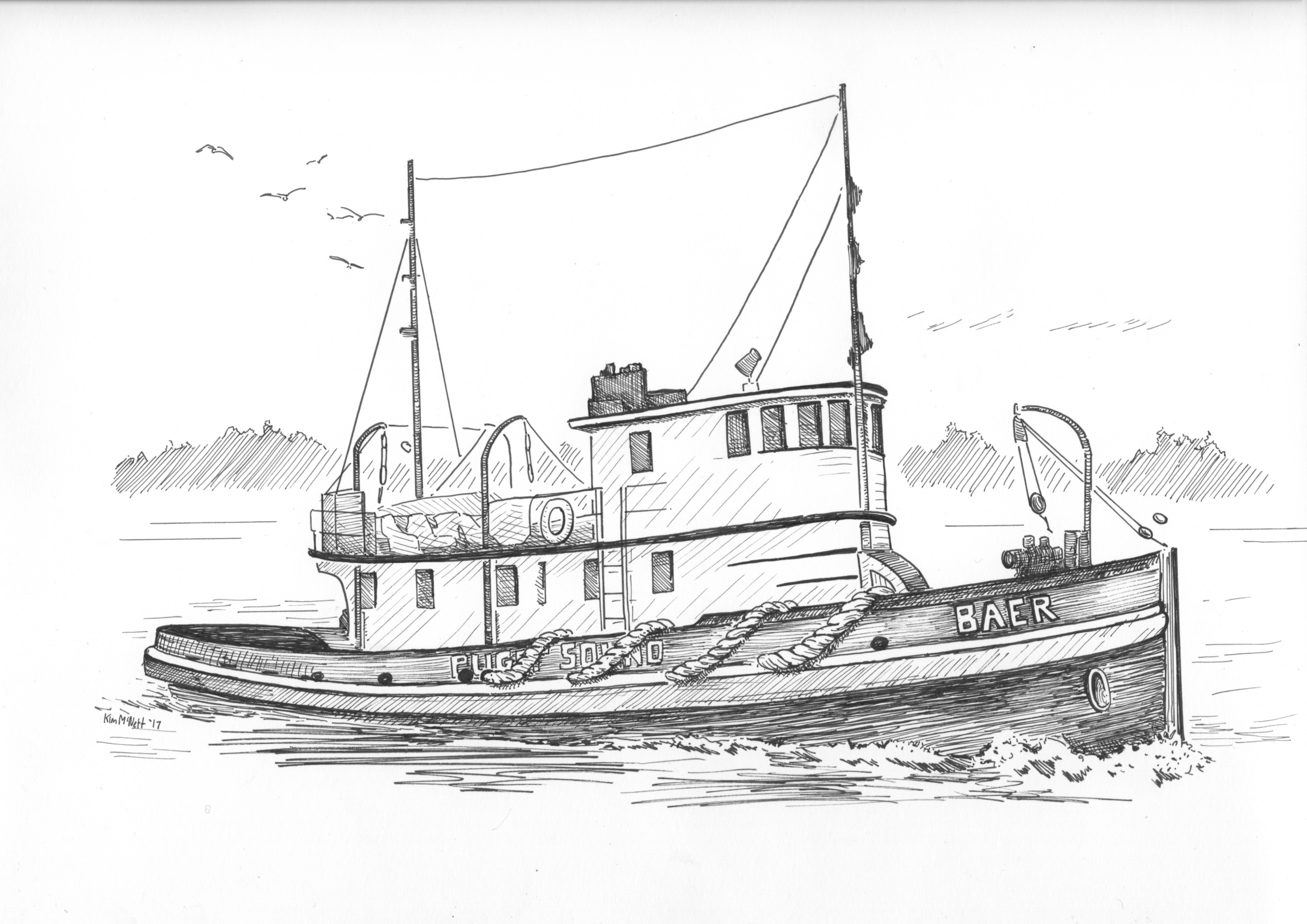 Tugboat drawing