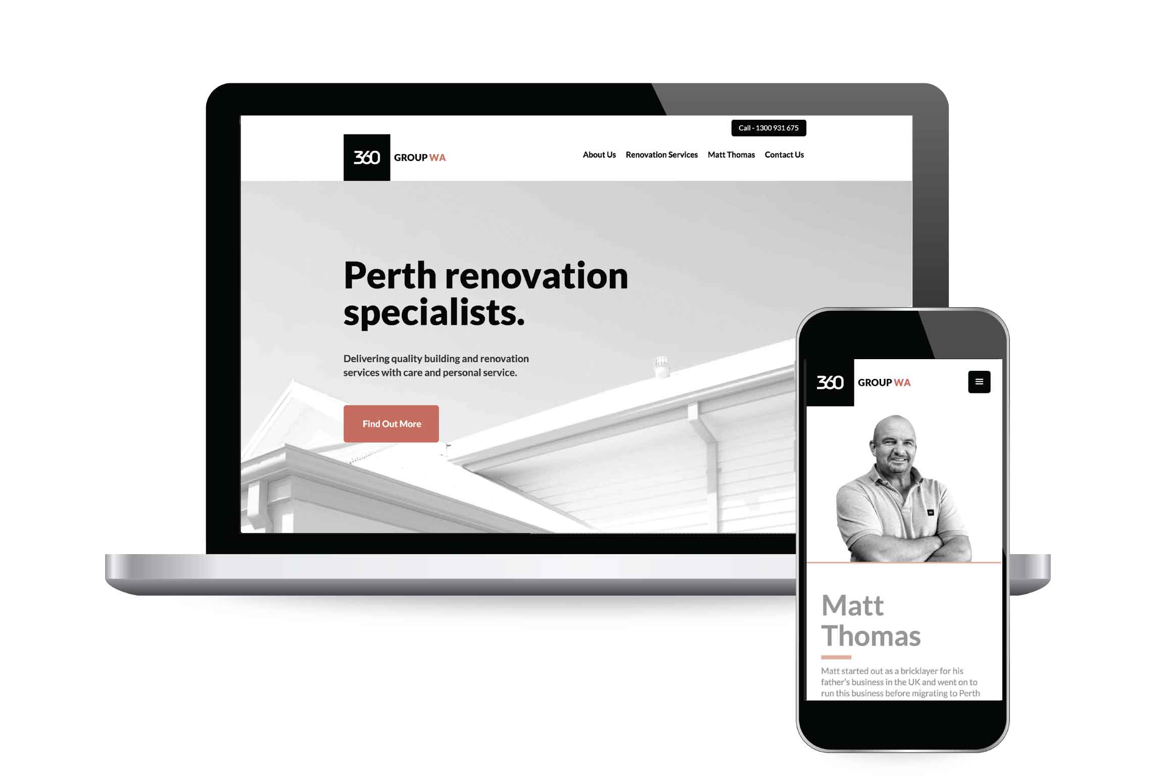 Customised website design for 360 Group Builders in Perth