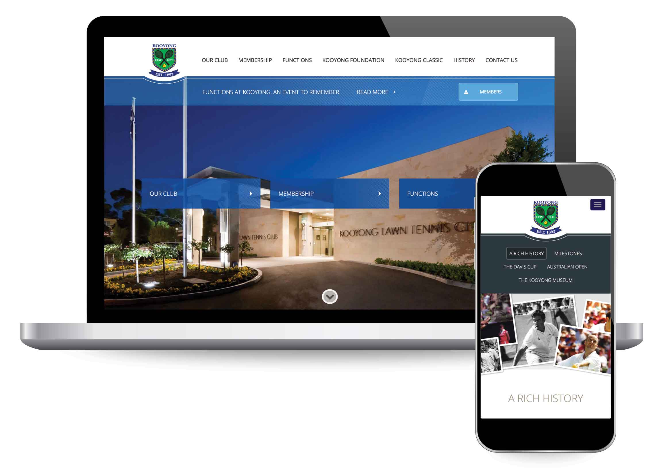 Website design for Kooyong Lawn Tennis Club | Home Page