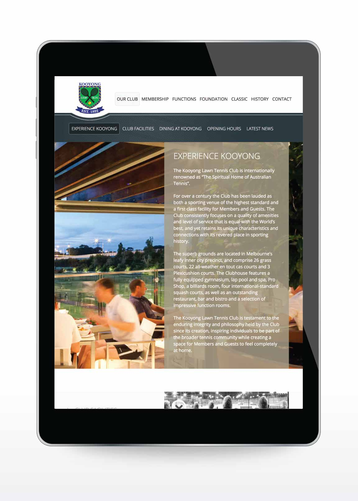 Website design for Kooyong Lawn Tennis Club | Sample Page