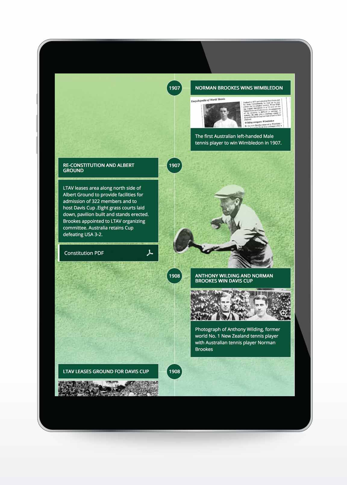 Website design for Kooyong Lawn Tennis Club | History Timeline