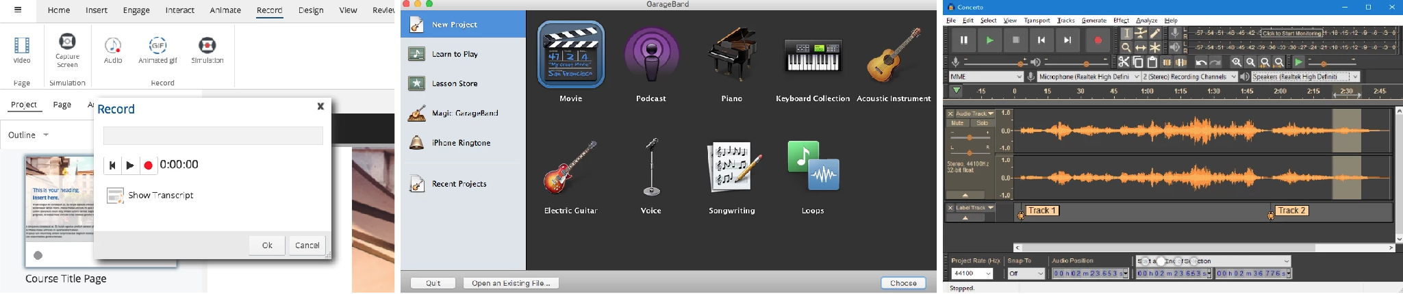 eLearning Audio Recording Tools