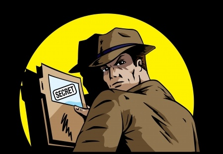 Cartoon graphic of man holding secret folder